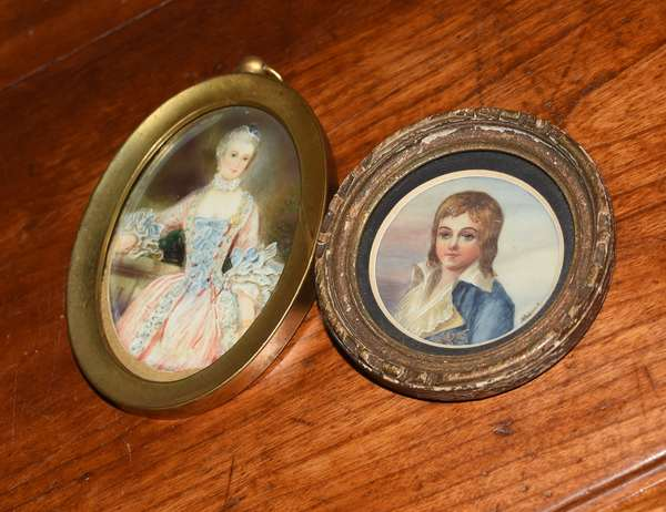 Two miniature portraits, artist signed  (461-137)