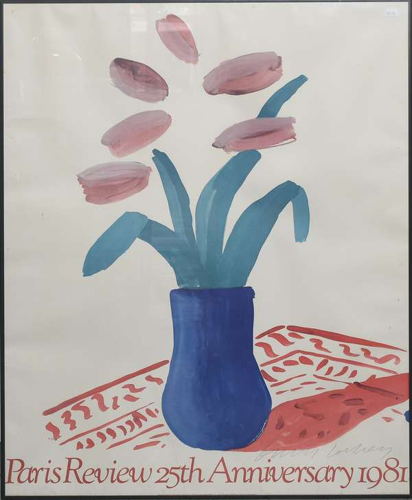 """Paris Review 25th Anniversary, flowers by David Hockney, 34.5"""" x 25.5"""" (897-26)"""