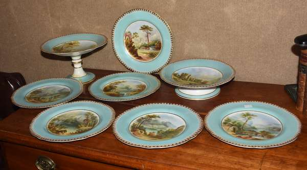 Coalport of similar hand painted dessert set, six plates, two compotes (one as-is) (461-140)