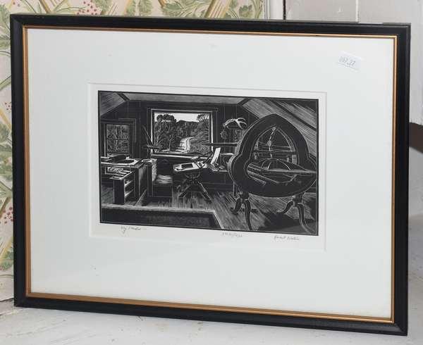 """Etching on paper """"My Studio"""" by Herbert Odgen Waters, 6"""" x 8"""" (897-27)"""