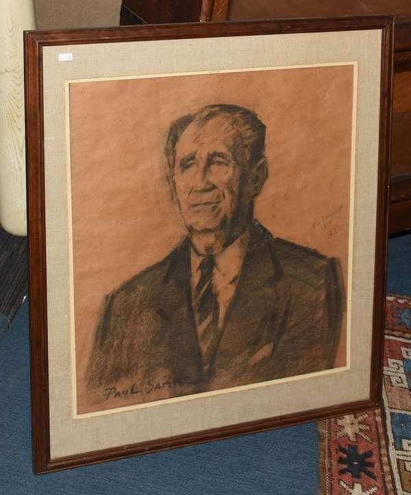Charcoal portrait, signed Paul Sample (461-160)