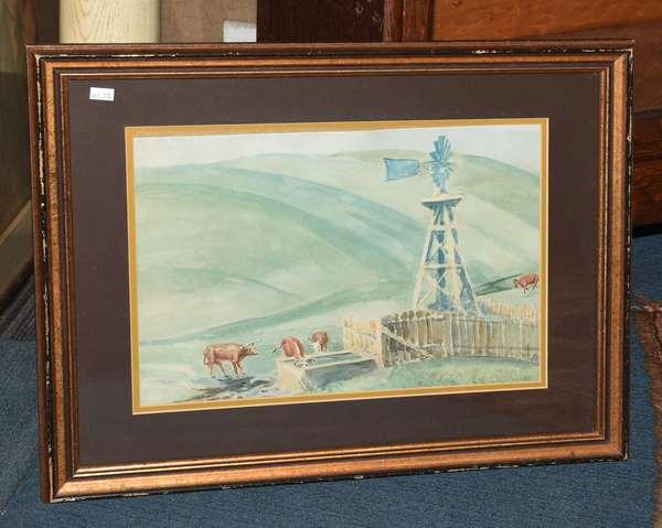 Paul Sample signed watercolor, farm scene (461-178)