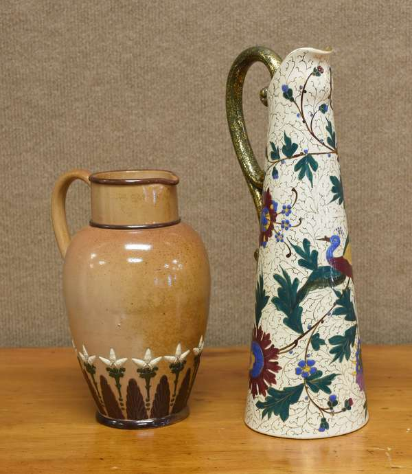 Hand painted ewer along with an English pitcher, 9