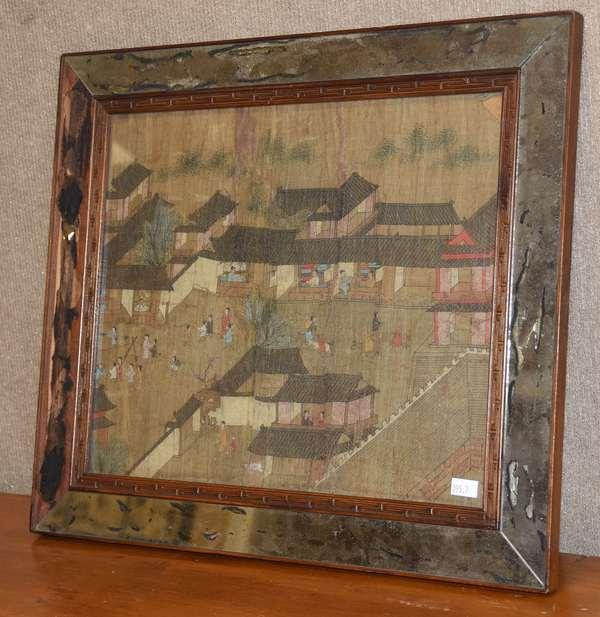 "Oriental framed silk screen 10"" x 14"" (895-7)"