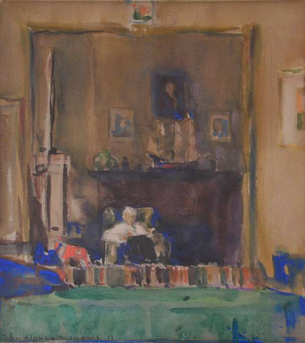 """Watercolor, gentleman in living room, John Alonzo Williams, 10"""" x 8.5"""" (882-2)"""