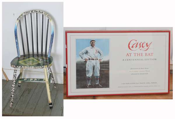 """Baseball cover """"Casey at the Bat"""", 14"""" x 22"""" along with paint decorated Casey Stengel chair (897-34)"""