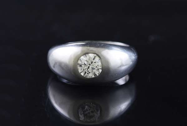 Jewelry - Gents platinum gypsy style ring set with approx. .65 ct. Old European cut diamond, 10 mm, sz. 7, 14.7 grams. (875-32)