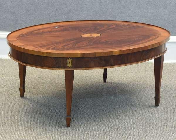 "Inlaid mahogany coffee table, Hekman Furniture Co., 42""L x 32""W x 17.5""H (96-238)"