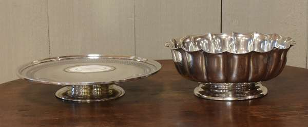 Two piece sterling lot, compote and footed plate, approx. 23.6 Toz (77-195)