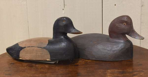 "Two wooden carved duck decoys, one by Tim Martindale Ontario Canada, 12""L. and 14.5"" (918-4)"