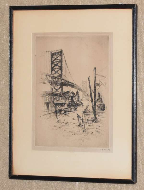 "Etching, Delaware Bridge, Philadelphia, signed A. Shutz (Anton Shutz), information on reverse, 12"" x 19"" (96-243)"