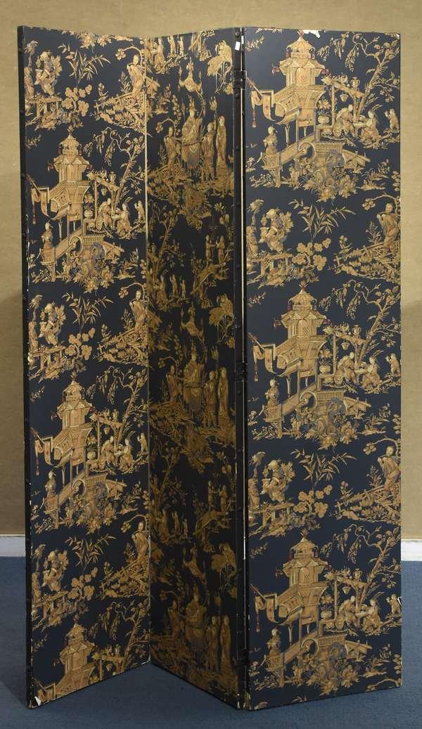 "Asian design paneled folding screen, 68.5""H. x 48""W. (918-7)"