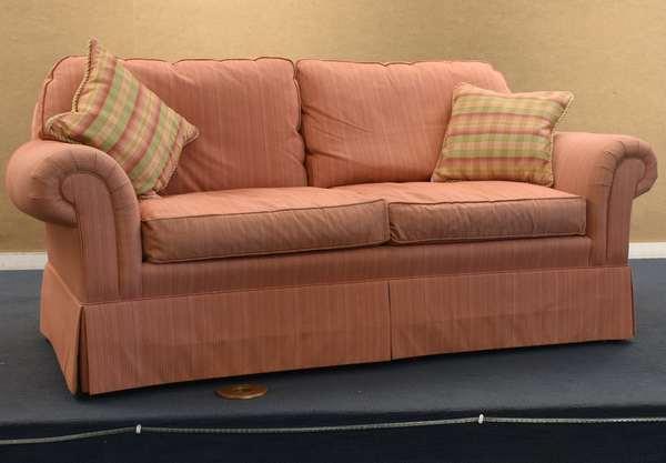 "Sherrill pink two-cushion sofa, 74""L x 33.5""H (96-227)"