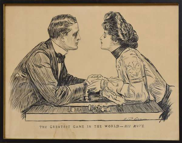 """Drawing by Charles Gibson, """"The Greatest Game in the World - His Move"""" 13.5"""" x 19"""""""
