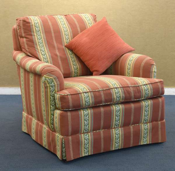 Red and yellow upholstered chair, Baker Furniture Co.(96-224)
