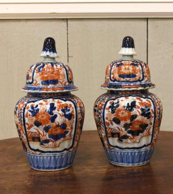 """Pair of Imari vases with lids, 8""""H. (918-9)"""