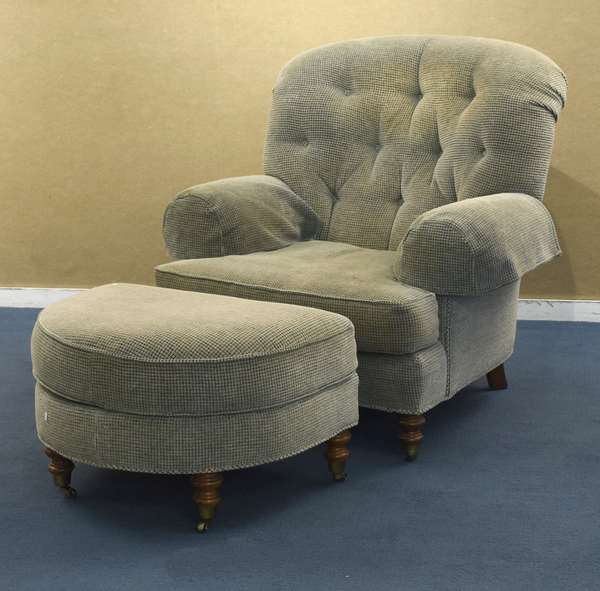 Upholstered chair and ottoman by Sherrill, sage green (96-223)