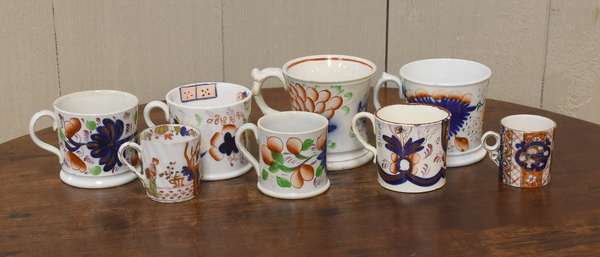 Collection of 8 cups including Gaudy Welsh (918-10)