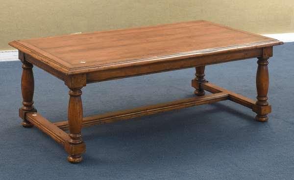 "Decorative stretcher base coffee table, 48""L x 26""W x 18.5""H (96-226)"