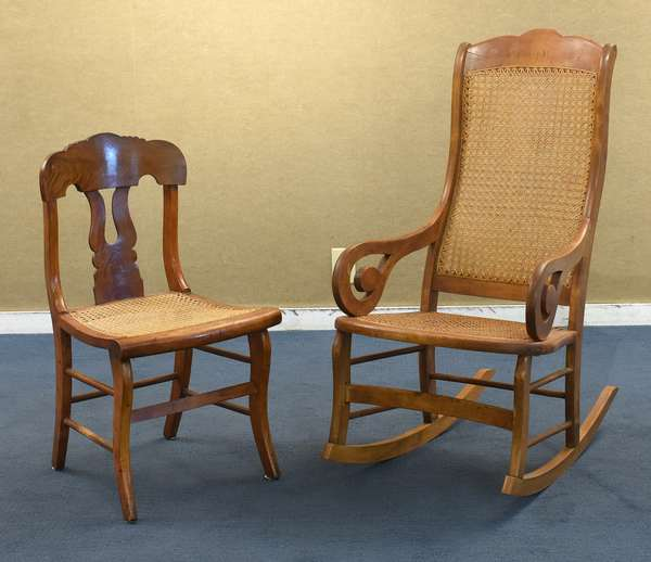 Victorian caned rocker and side chair (96)