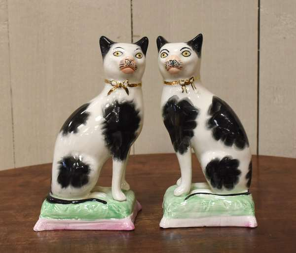 """Pair of Staffordshire cats, 7""""H. (918-12)"""