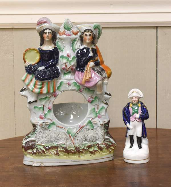 "Staffordshire figure of Napolean, 5""H. and a Staffordshire watch holder, 10""H. (2 pcs)	(918-13)"