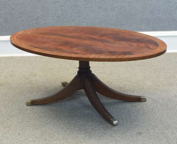 "Ethan Allen inlaid flame mahogany pedestal-base coffee table, 48""L x 30""W x 19""H (605-298)"