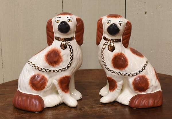 "Pair of 20th C. Staffordshire luster dogs, 8""H. (918-14)"