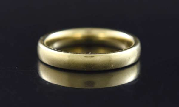 Jewelry - Gents 14kt yellow gold wedding band, 4 mm, 6.4 gr. (875-51)