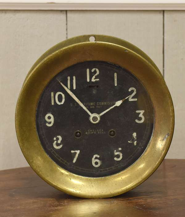 "Chelsea ship's clock, 7.25"" dia., U.S. Maritime Commission (605-301)"