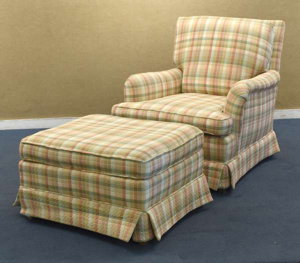 Upholstered chair and ottoman, pink and green checkered (96-222)