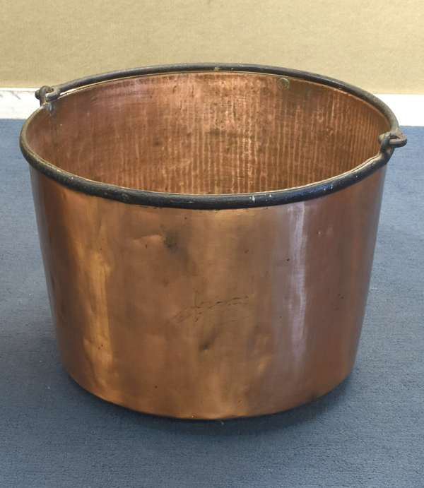 "Large size copper bucket, with iron swing handle and rim, 24"" dia. X 17""H (96-228)"