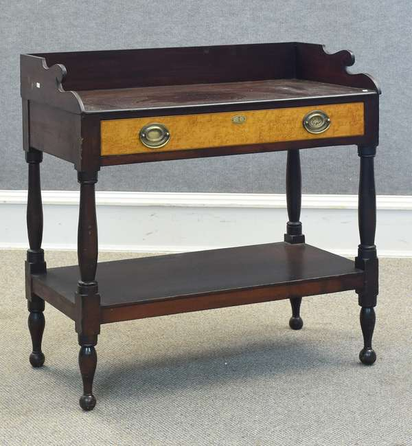 """One-drawer mahogany server with birdseye drawer front, 32""""W x 33""""H (605)"""