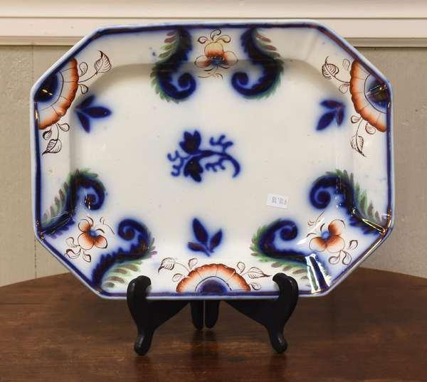 "19th C. Gaudy Welsh platter, 13""L. (918-18)"