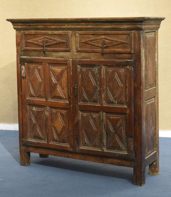 """European cupboard with diamond point design on doors and sides, 52""""H x 47""""W x 14""""D (461-153)"""