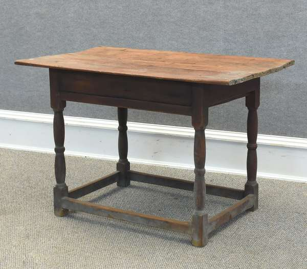 """Stretcher base tavern table with early red paint, 39""""W x 23""""D x 26""""H (605-307)"""