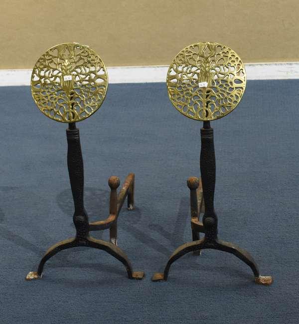 Pair of brass sunburst design andirons (778-78)
