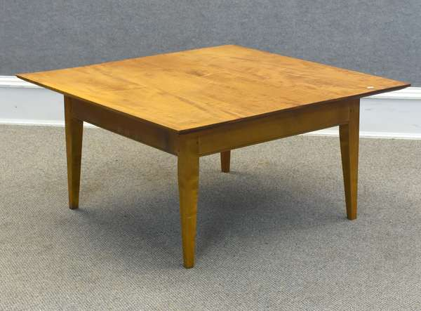 """Bench made tiger maple coffee table, 36""""W x 36""""L x 18""""H (605-308)"""