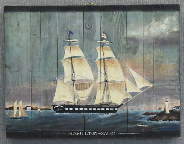 Painting on board of sailing ship with info on reverse (885-3)