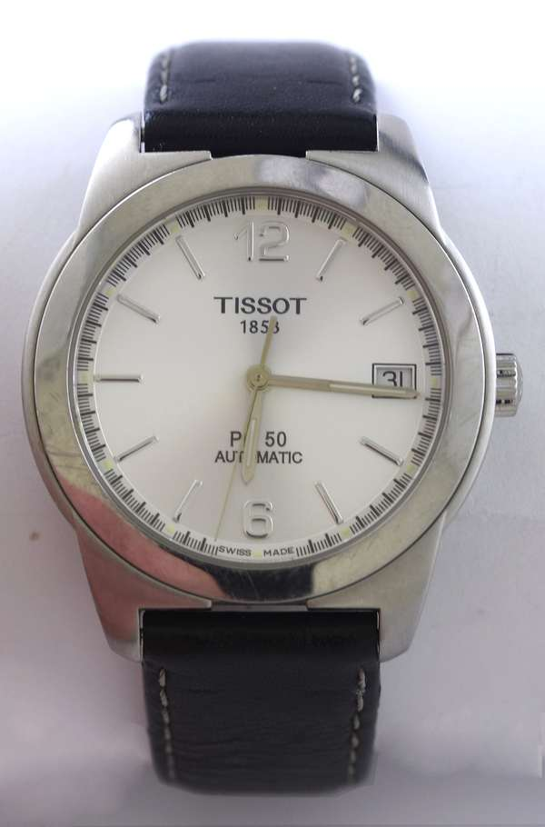 Gents stainless steel Tissot wrist watch, 36 mm case, 1853 PR50 Automatic w/ original black leather strap, good condition (875-74)