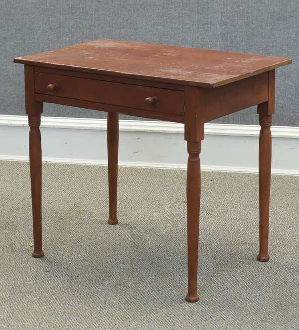 """Country pine one-drawer stand in red paint, 31""""L x 19""""W x 28""""H (605-309)"""
