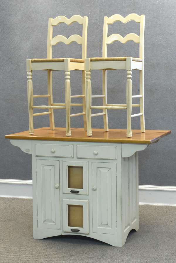 "Kitchen island with two chairs 52""L. x 36""H. x 30""D., chairs seat height 27"" and overall height 44"" (237-2)"