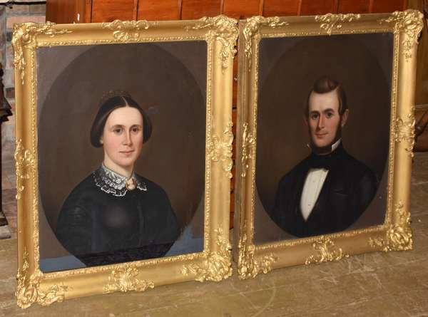 """Pair of 19th C. portrait paintings, 27"""" x 22"""" Soule Family, Fairfield, VT"""