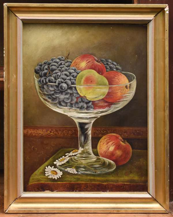 """19th C. oil on canvas, American school still-life compote of fruit, 15"""" x 11"""""""