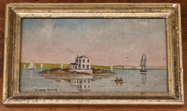 "19th C. oil on board, view of Lime Rock Newport RI, 4.75"" x 8"""