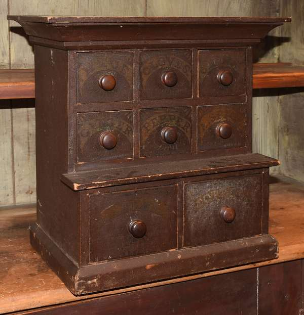"""19th C. step-back spice cabinet of four over two drawers with original paint, 16"""" x 16"""""""