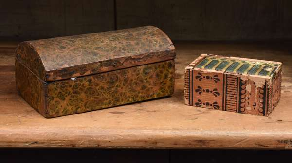 """Two 19th C. wallpaper boxes, 8""""L. dome top and a 5"""" slide box"""