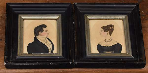 """Pair of early 19th C. American school miniature watercolor portraits, man & woman, 4.5"""" x 3.75"""""""