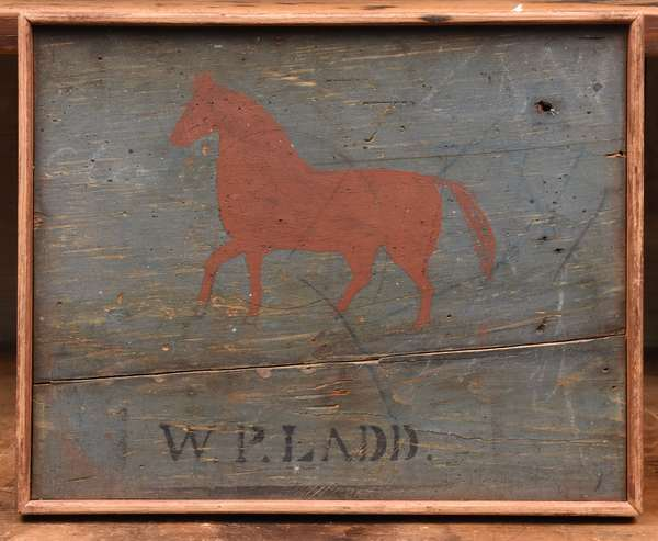 """19th C. tavern sign, W.P. Ladd with red horse on blue ground, from Maine, 11.5"""" x 14"""""""