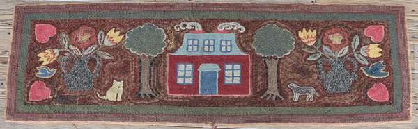 """19th C. elongated hooked rug, house, trees, tulips,cats and dogs good color! 22"""" x 62""""L."""